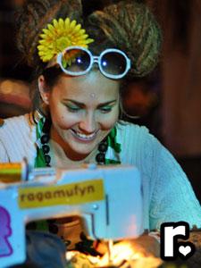 ragamufyn handmade mufyn love busy stitchin' up lots of sunshine for you sewing machine artist at work